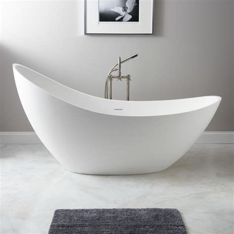 bathtubs freestanding modern 73 quot ballico resin freestanding slipper tub modern