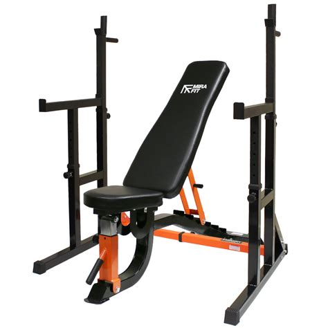 bench and rack mirafit hd adjustable fid weight bench squat rack dip