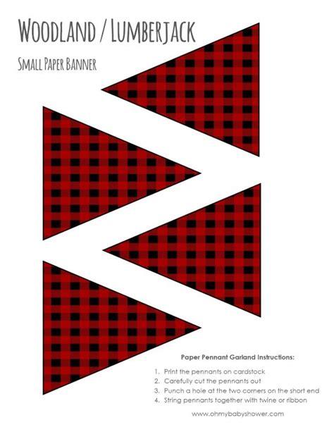 printable banner material woodland lumberjack buffalo plaid banner printables oh