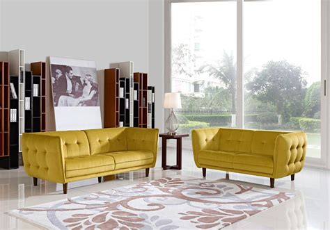 avro modern yellow fabric sofa set