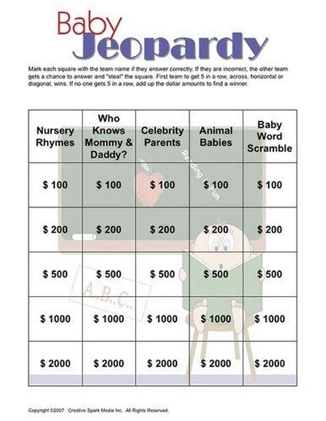 Baby Shower Jeopardy by Baby Shower 14