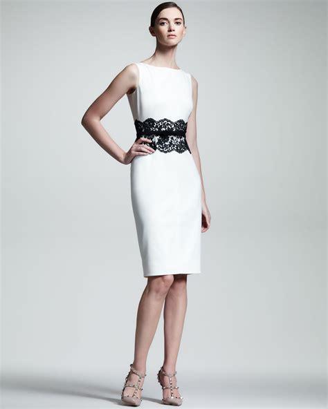 valentino lace waist sheath dress in white lyst