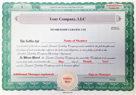 Laughlin Associates Inc Setting Up Your Corporate Kit Llc Member Certificate Template