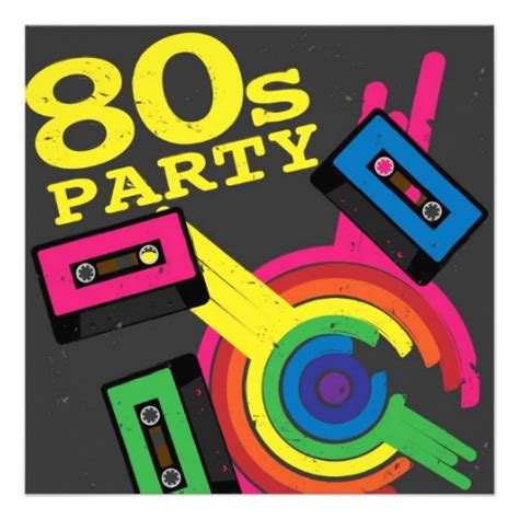 80s party 5 25x5 25 square paper invitation card zazzle