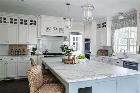 White And Blue Kitchen Cabinets White And Blue Kitchen Transitional Kitchen Sherry Hart Designs