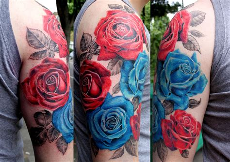 red white and blue rose tattoo tattoos for half sleeve www pixshark