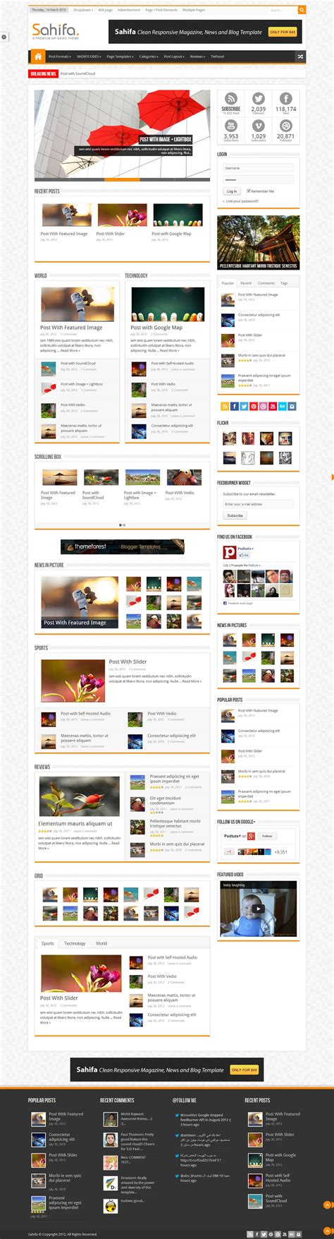 sahifa theme for wordpress 10 best responsive magazine wordpress themes 2013