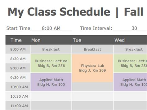 8 Class Schedule Makers Excel Templates C Template Class