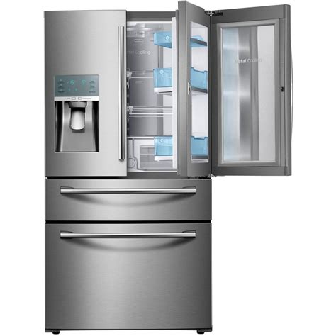 samsung 22 4 cu ft food showcase 4 door door refrigerator in stainless steel counter