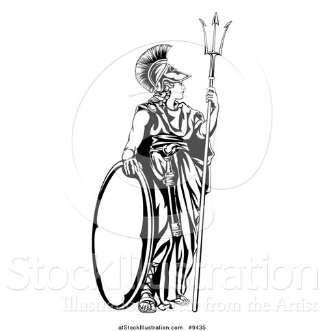 vector illustration of a black and white engraved athena