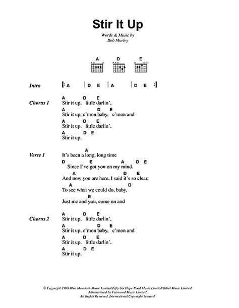 pattern up lyrics stir it up sheet music by bob marley lyrics chords 41946