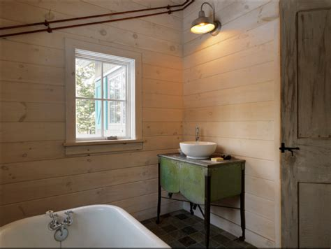 Whitewashed Shiplap Walls Classic Barn Sconce Becomes Vanity Light In A Vermont
