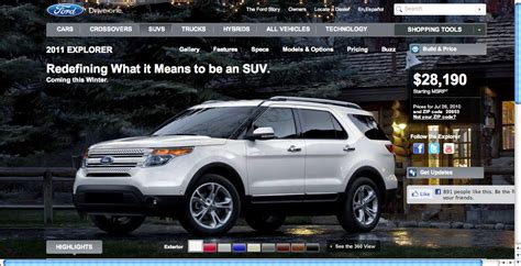 ford explorer 2011 price 2011 ford explorer configuration site gives away pricing