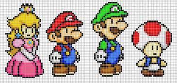 pixelated mario characters mario luigi peach and toad by hama girl on deviantart