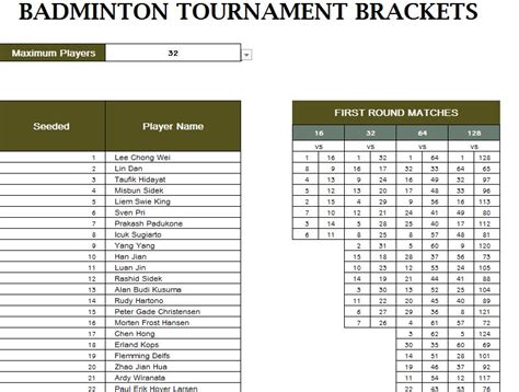badminton score card template badminton tournament schedule my excel templates