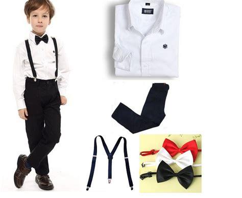 Costume Pieces Kostum Putih 4 14y children sleeve white shirt black bow tie boys and 100 cotton 4