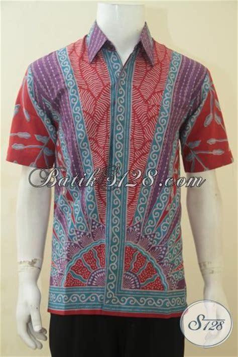 Gamis Pria Warna Merah baju batik pria warna merah kombinasi sedikit biru model