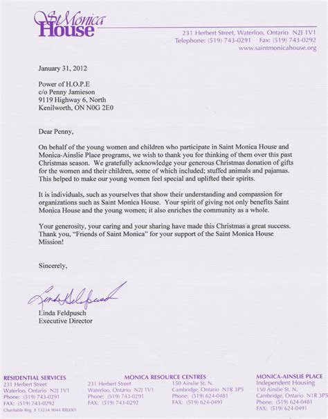 Thank You Letter For Donation Of Blankets Letters Of Thanks 2011 Power Of Community Organization