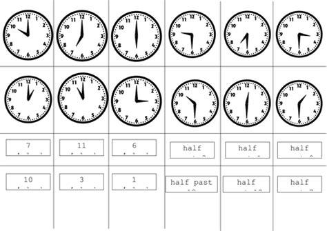 clock worksheets o clock and half past analogue o clock half past cut and stick by ptaylor