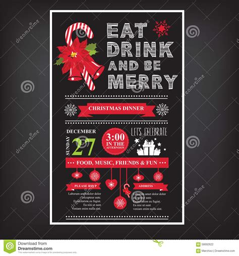 restaurant for christmas party restaurant and menu invitation stock vector illustration of cooking