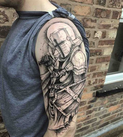 knight tattoo graphic shoulder