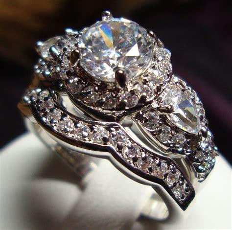 stunning cz vintage style engagement wedding rings