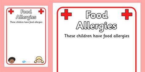 food allergy card template for children pupil food allergies information poster food allergy