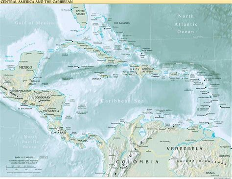 central america and the caribbean physical map interopp org physical map of central america and the