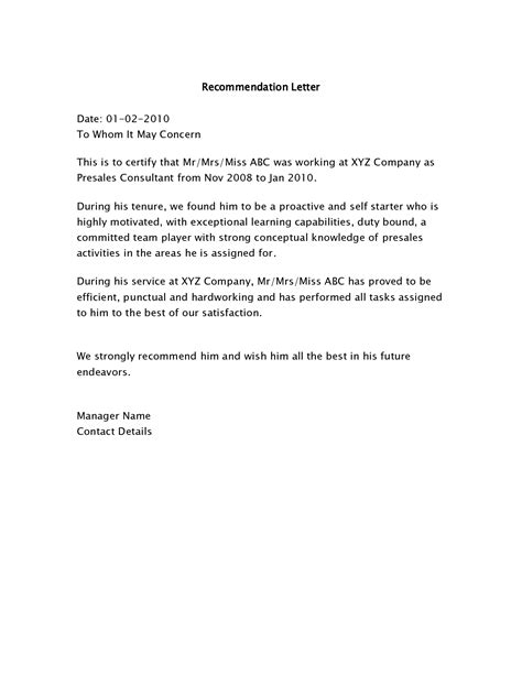 Recommendation Letter For Post Best Photos Of Simple Sle Letter Of Recommendation