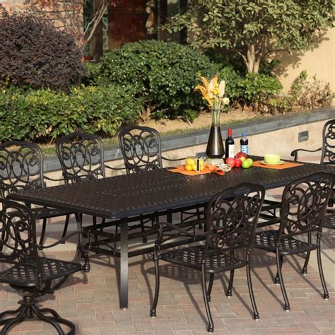 Darlee Florence 8 Person Cast Aluminum Patio Dining Set 8 Person Patio Dining Set