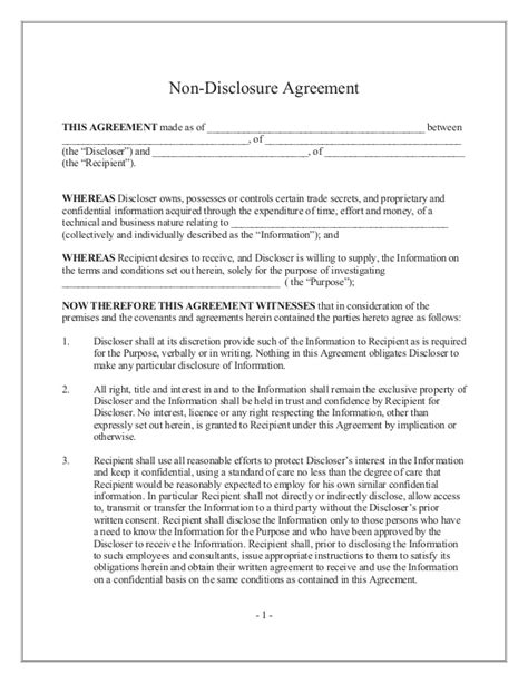 confidentiality and nondisclosure agreement template non disclosure agreement or confidentiality agreement