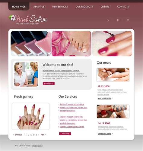 nail salon website template 21293