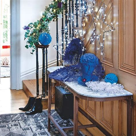 hallway with console table display modern christmas
