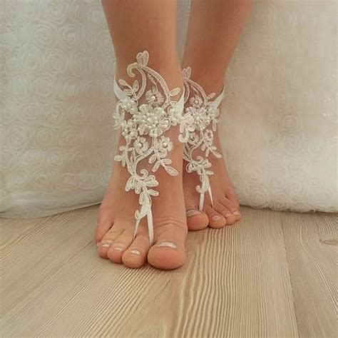 lace barefoot sandals wedding barefoot sandals free ship embroidered