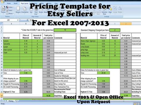 excel price sheet template pricing template for etsy sellers excel spreadsheet includes