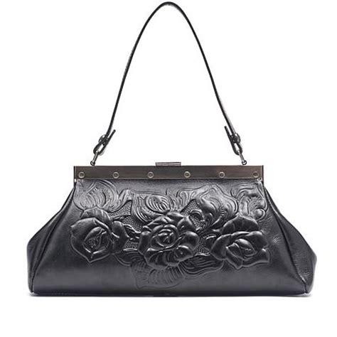 patricia nash ferrara black tooled leather frame satchel