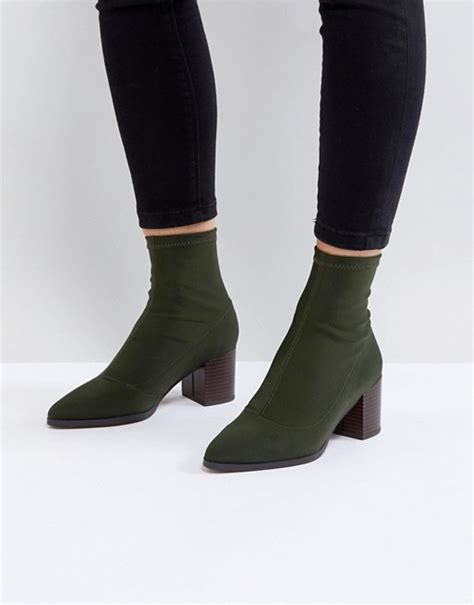 asos asos ricky mid heeled sock boots