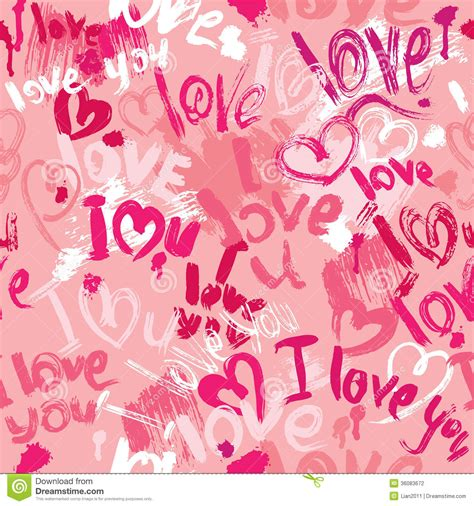 love pattern words seamless pattern with brush strokes and scribbles stock