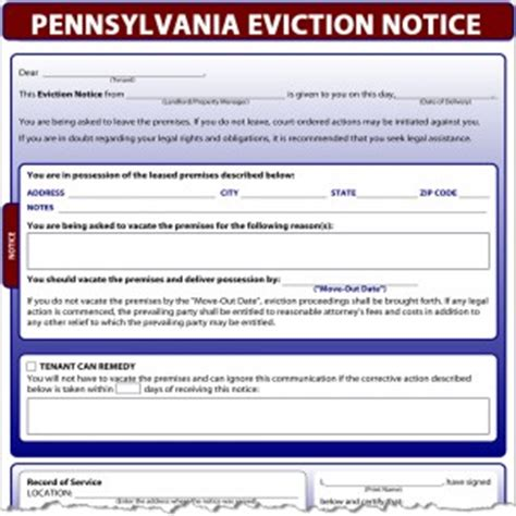 Pennsylvania Eviction Notice Eviction Notice Template Pennsylvania Free
