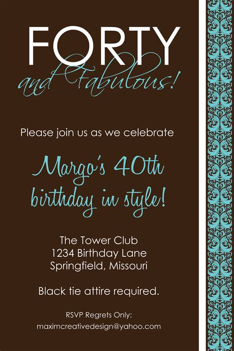 9 best images of 40th birthday invitations printable