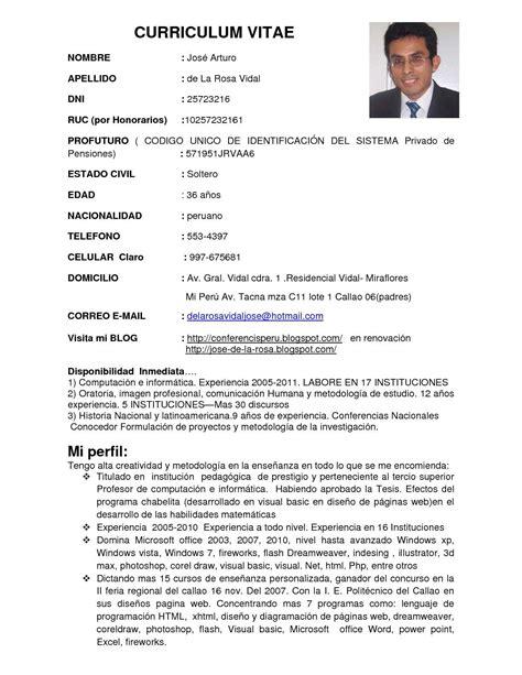 Modelo Curriculum Vitae Tecnico Informatica Calam 233 O Enero 2011