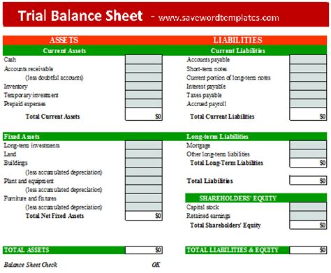 Trial Balance Sheet Template by Save Word Templates
