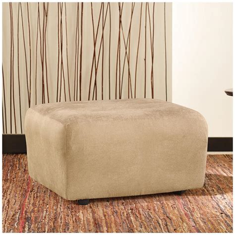 sure fit ottoman cover sure fit 174 stretch leather ottoman slipcover 581255