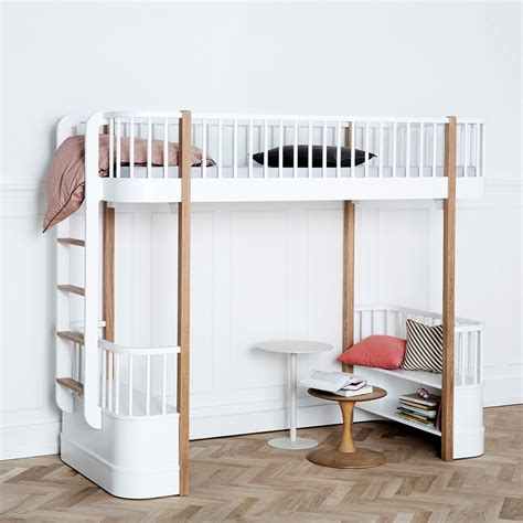 high beds childrens luxury high loft bed in white oak with storage