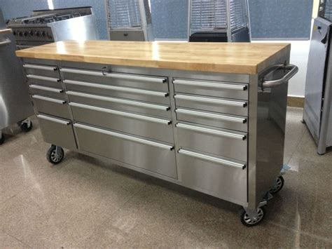 Husky 52 In 9 Drawer Mobile Workbench With Solid Wood Top by Mobile Workbench Tool Box Benches
