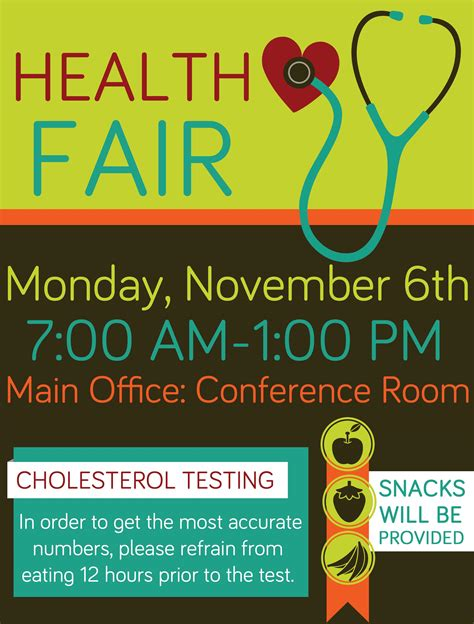 company health fair flyer graphic design school health