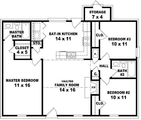 3 Bedroom 2 Bath House Floor Plans | 653624 affordable 3 bedroom 2 bath house plan design