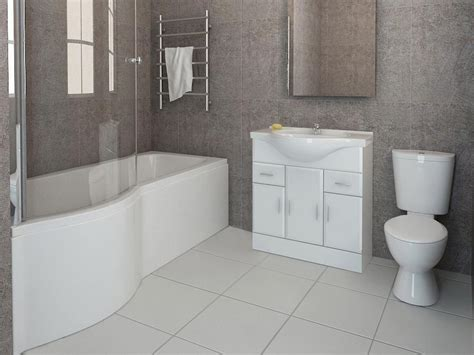 Bathroom Shower Suites P Shaped Bathroom Suite Vanity Unit Sink Toilet Glass Screen Front Panel 1700mm Ebay