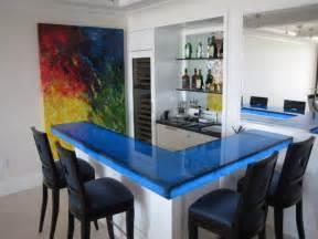 back lit blue glass bar contemporary kitchen miami