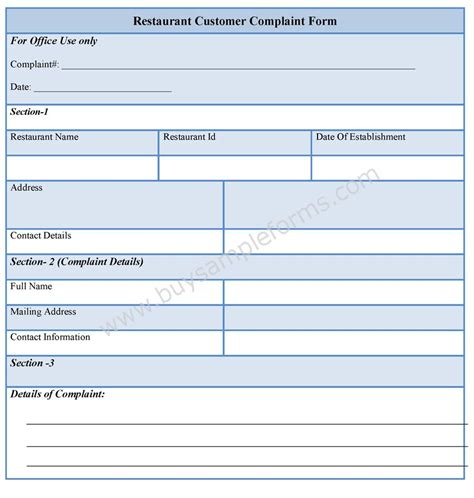 customer complaint form template restaurant customer complaint form